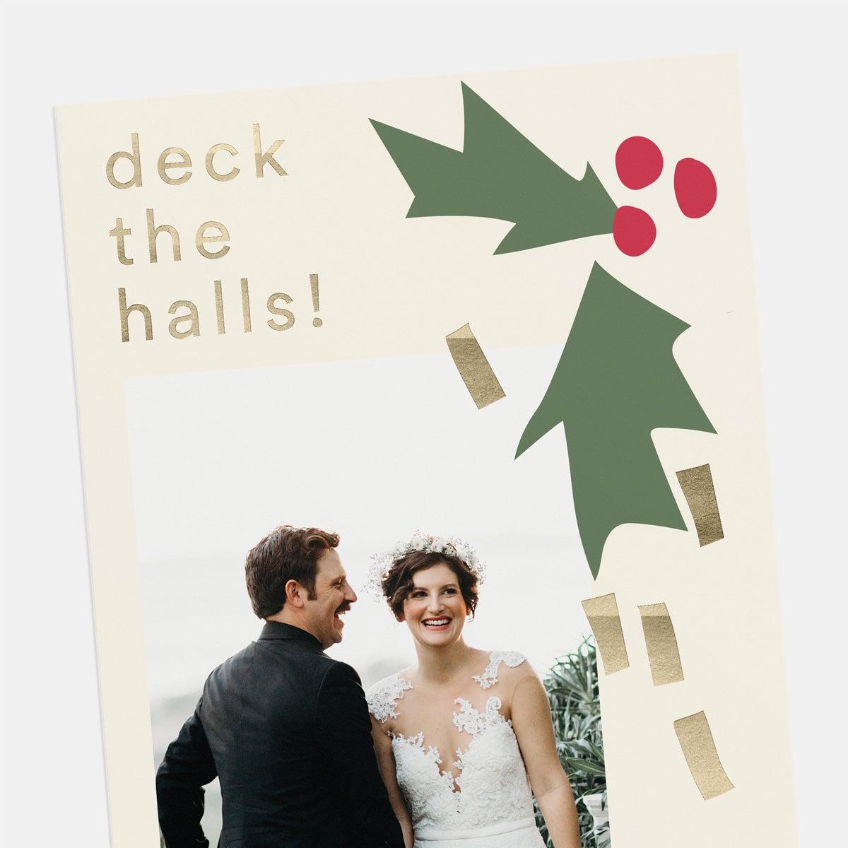 Abstract Holly Holiday Card