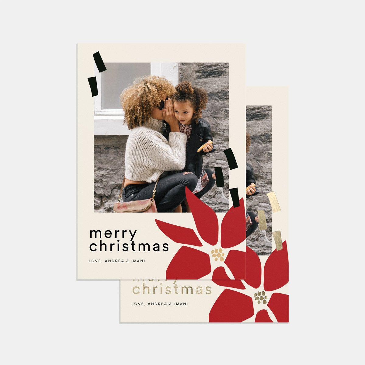 Abstract Poinsettia Holiday Card