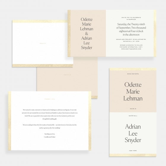 Foil-Stamped Colorblock Wedding Invitation