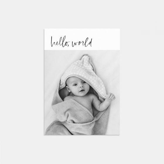 Hand-Lettered Hello World Birth Announcement