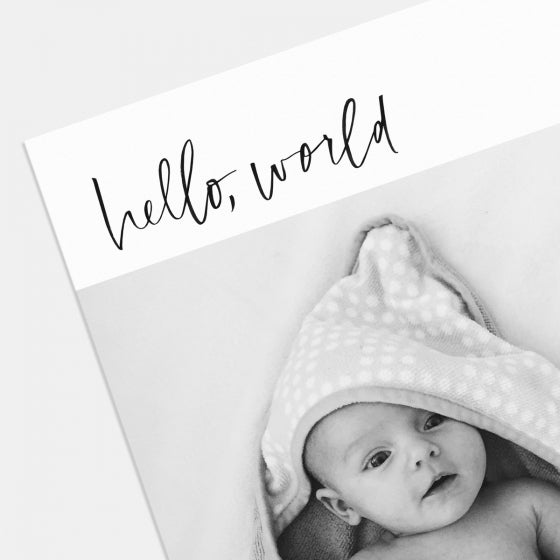 Hand-Lettered Hello World Birth Announcement