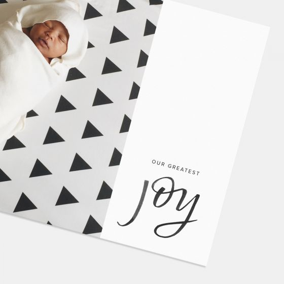 Joy Hand Lettered Birth Announcement