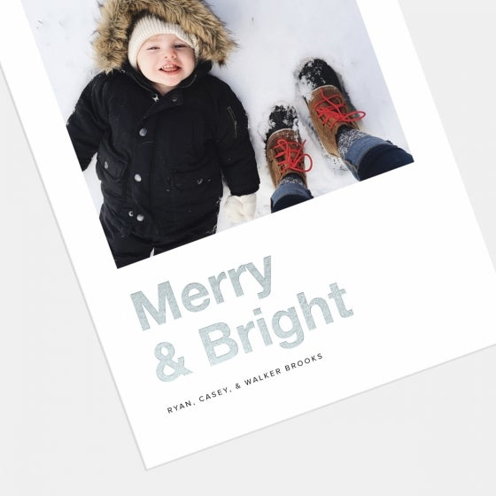 Bold Merry & Bright Holiday Card with Foil