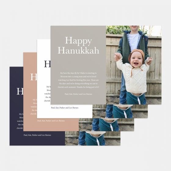 Colorblock Happy Hanukkah Card