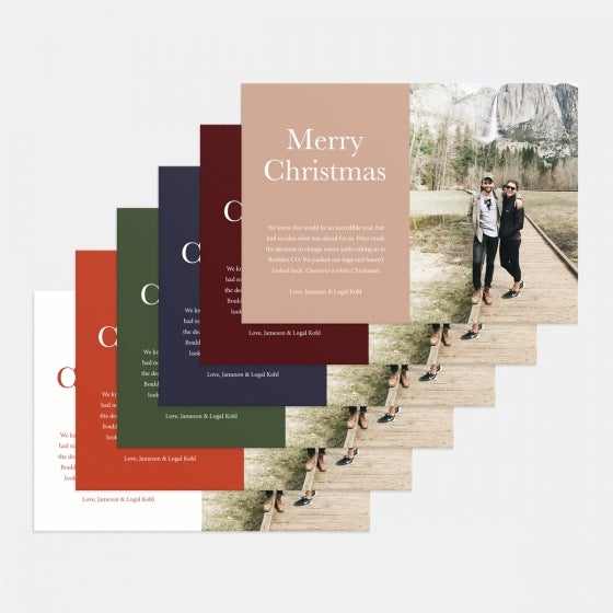 Colorblock Merry Christmas Holiday Card