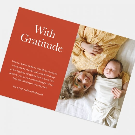 Colorblock With Gratitude Holiday Card