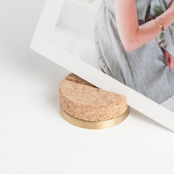 Cork & Brass Print Stand with Prints