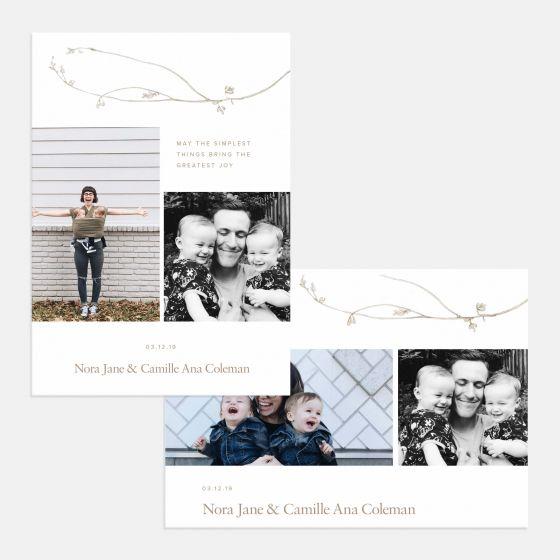 Duo-Image Botanic Birth Announcement