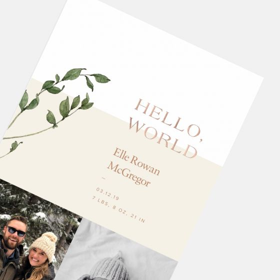 Duo-Image Greenery Birth Announcement