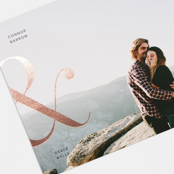 Ampersand Save The Date Card with Foil