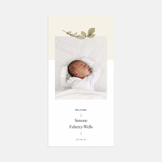 Two-Toned Greenery Birth Announcement