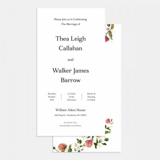 Foil-Stamped Venamour Botanical Wedding Invitation