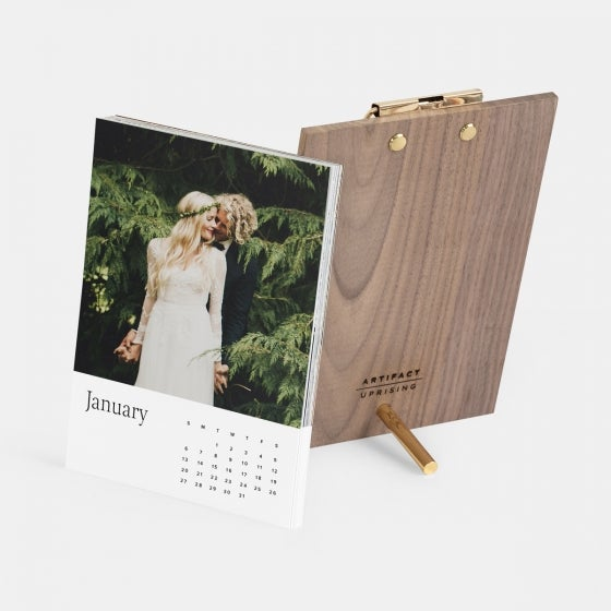 Walnut Desktop Photo Calendar