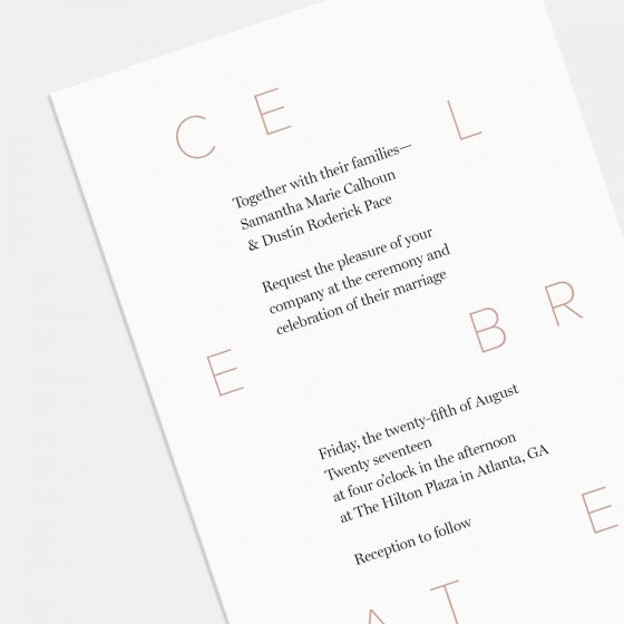 Celebrate Wedding Invitation With Foil