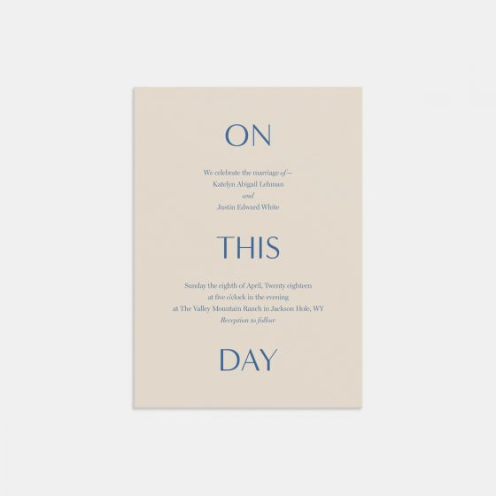 On This Day Wedding Invitation