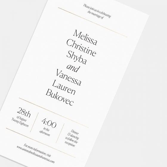 Foil-Stamped Elemental Wedding Invitation