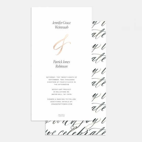 Foil-Stamped Hand-Lettering Wedding Invitation