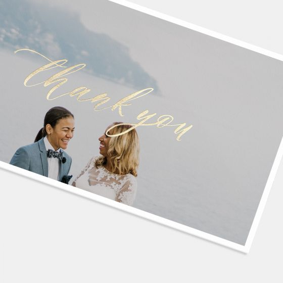 Foil-Stamped Hand-Lettering Thank You Card