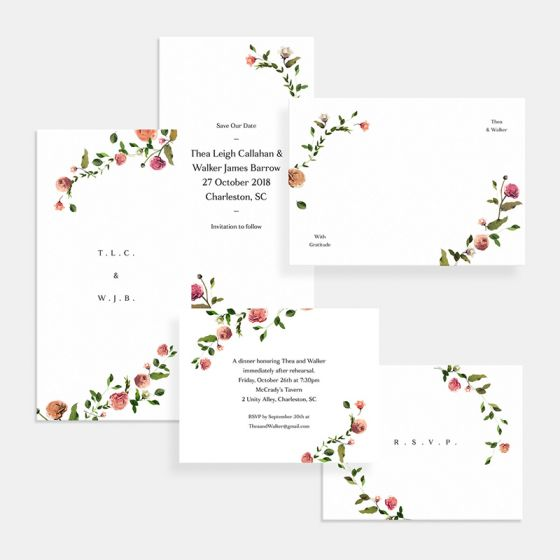 Venamour Botanical Wedding Invitation
