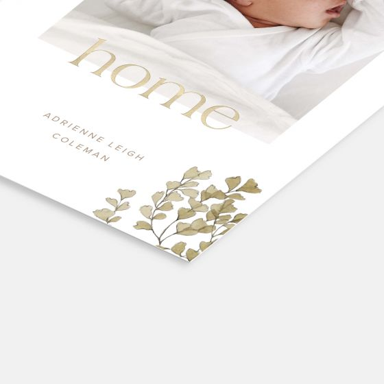 Welcome Home Botanical Birth Announcement