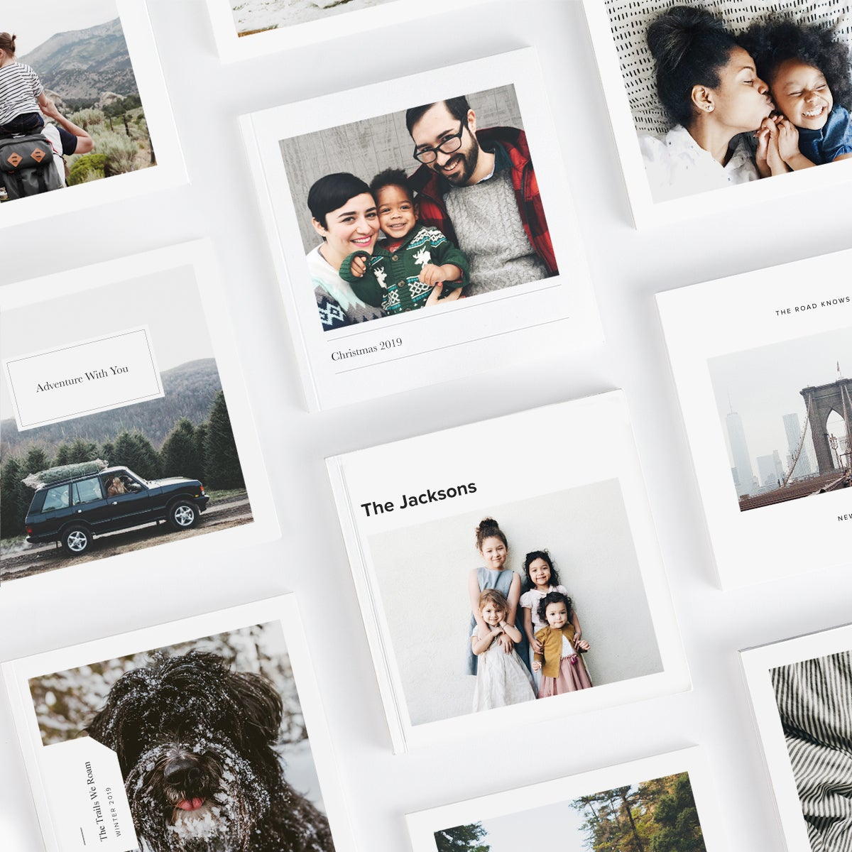 Many different Mini Photo Books lined in a grid