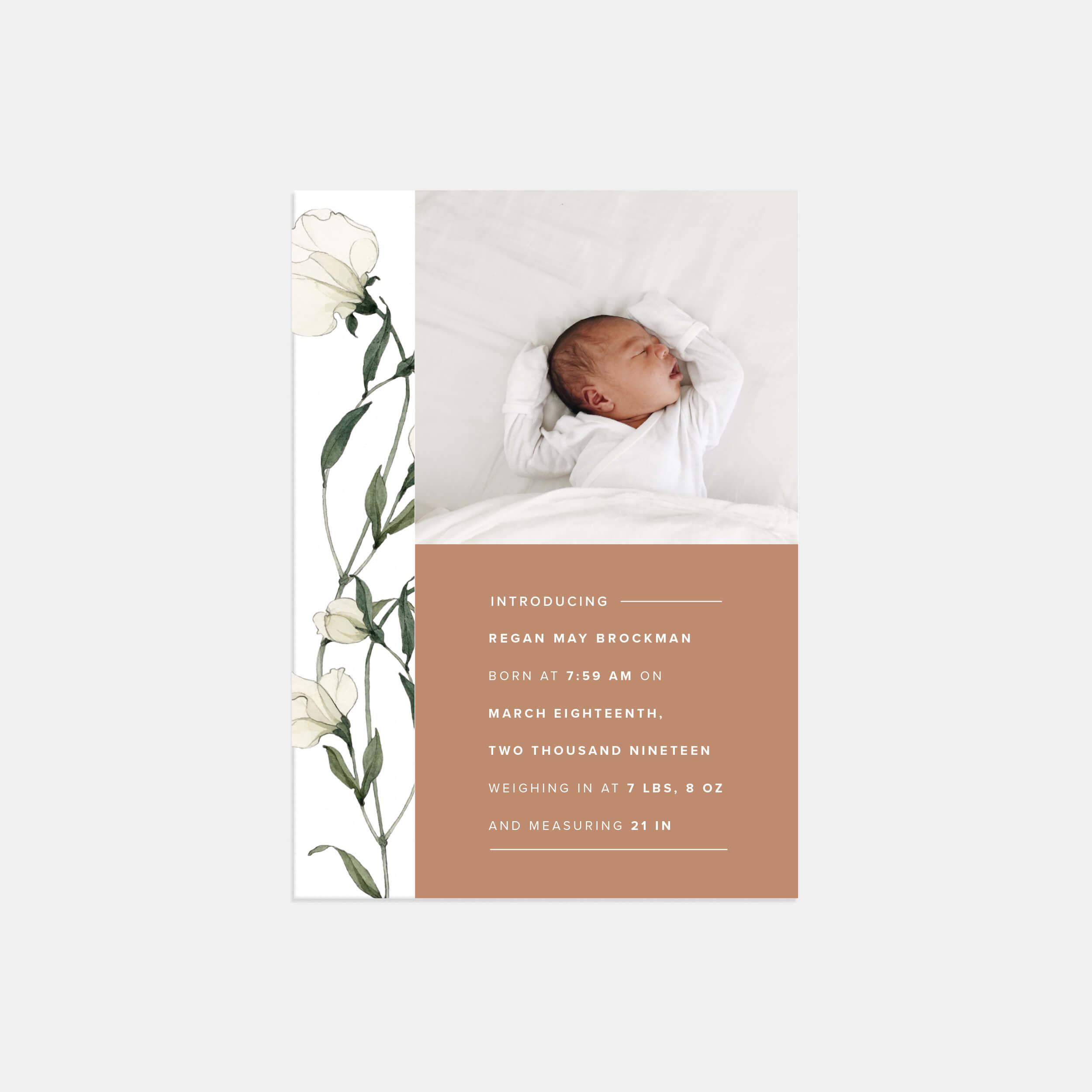 Modern Floral Baby Announcement