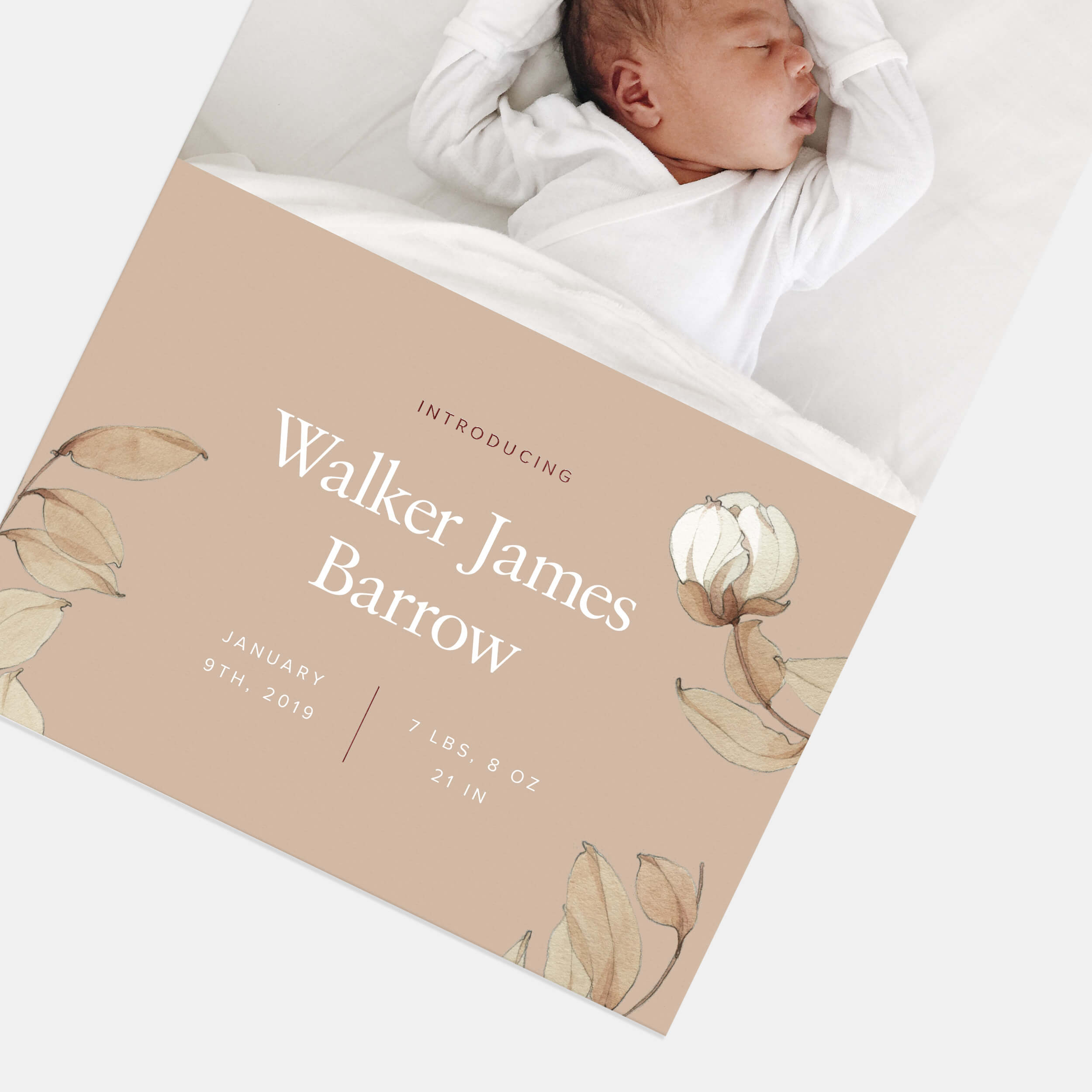 Taupe Botanical Baby Announcement