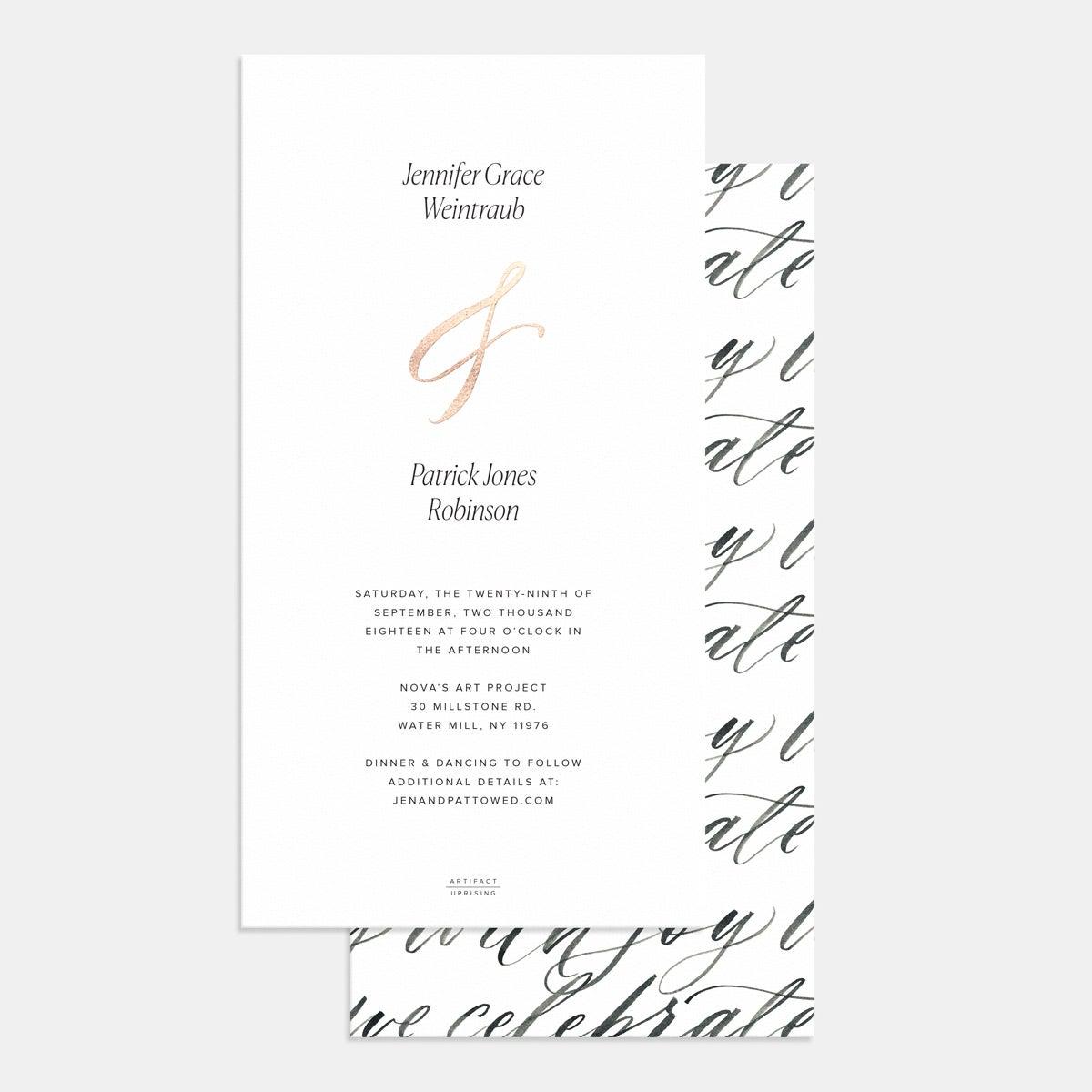 Foil-Stamped Hand-Lettering Wedding Invitation