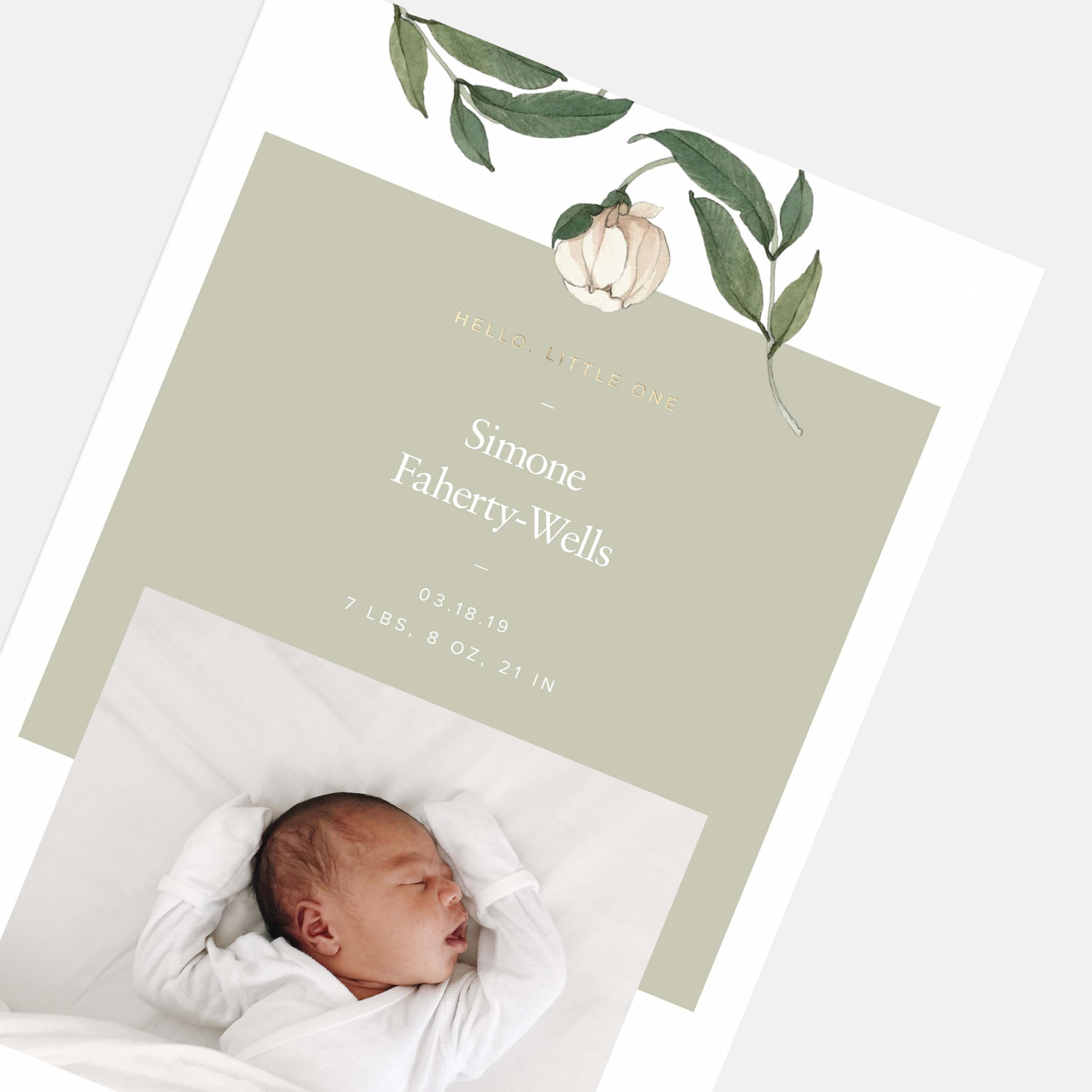 White Botanic Birth Announcement
